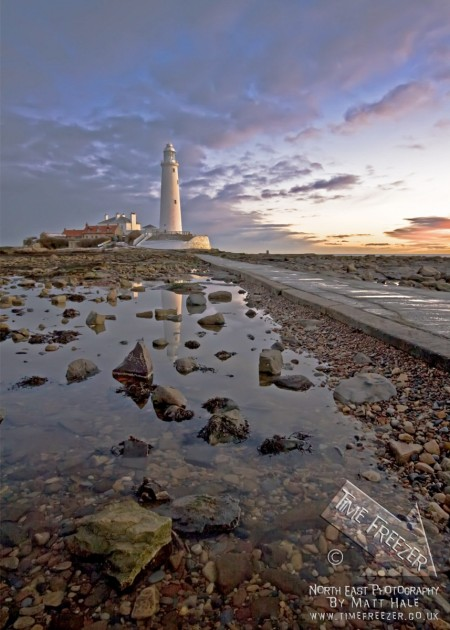 St Marys Lighthouse Winter Sunrise photo