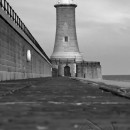 Tynemouth Lighthouse 1 black and white