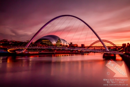 Sunset over the Millenium Bridge Newcastle Gateshead