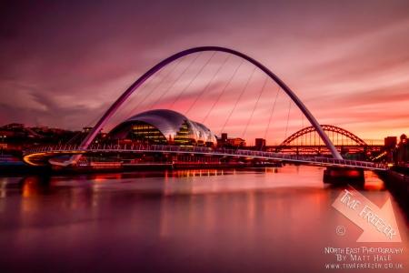 Sunset over the Millenium Bridge Newcastle Gateshead