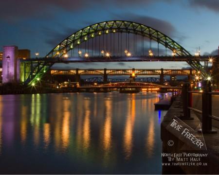 Newcastle Tyne Bridge at Night Photo