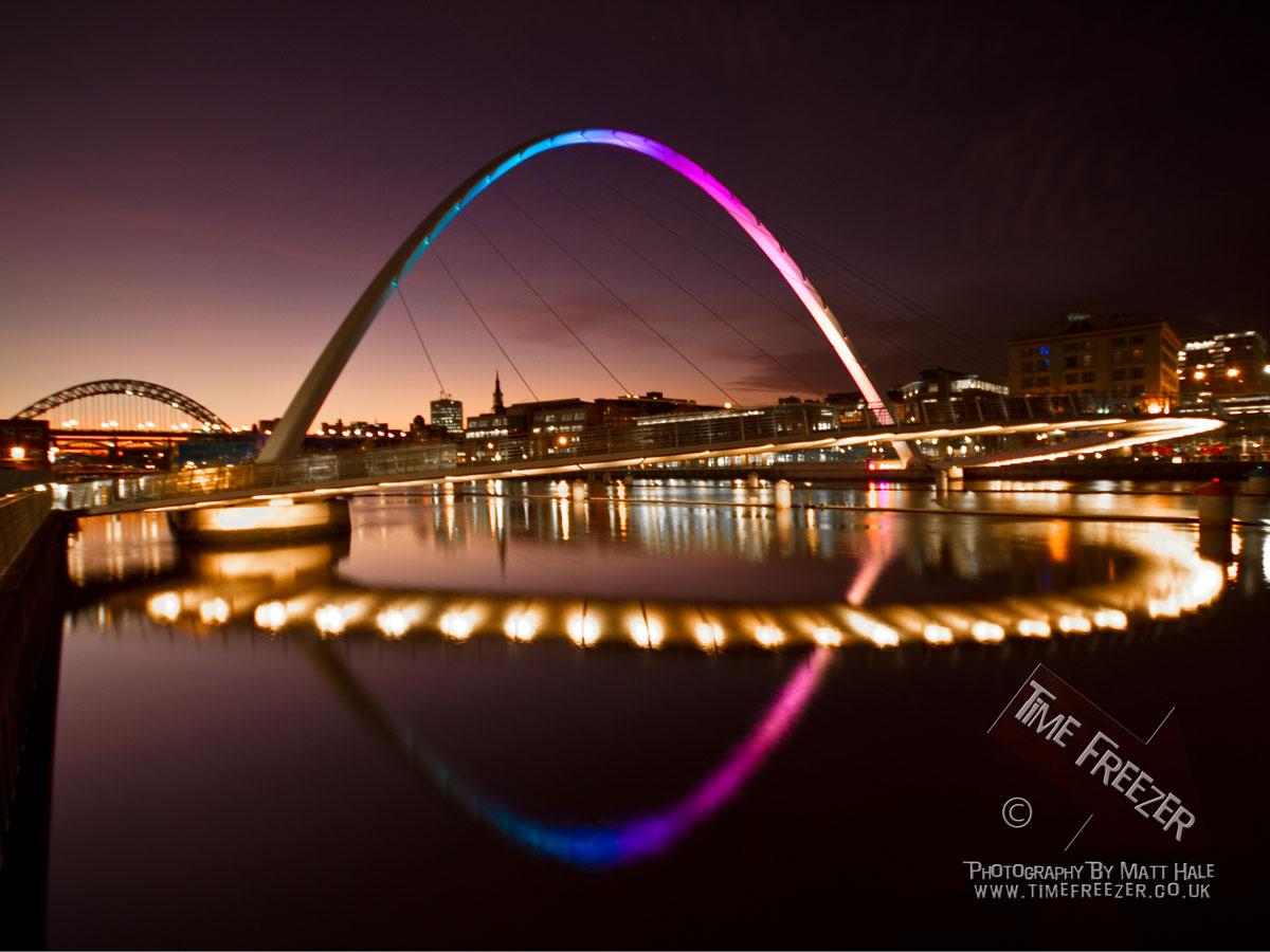 Millennium Bridge Newcastle Millennium Bridge Lit Up At