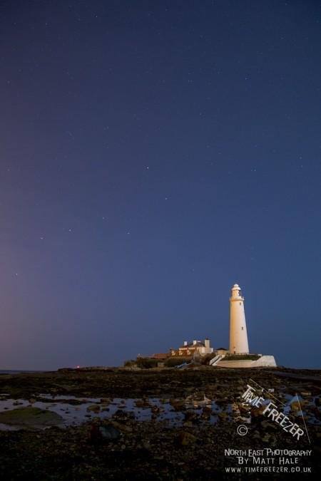 St Marys Lighthouse Whitley Bay Night Photo