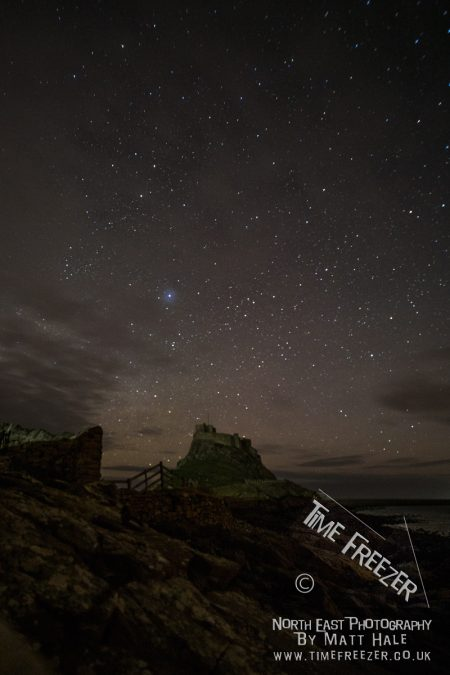 Stars above lindisifarne castle