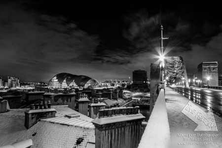 Snow on the tyne bridge photo