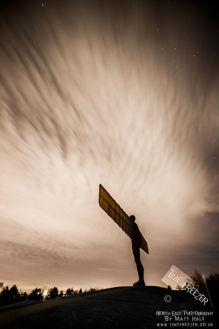 Angel of the north under the stars