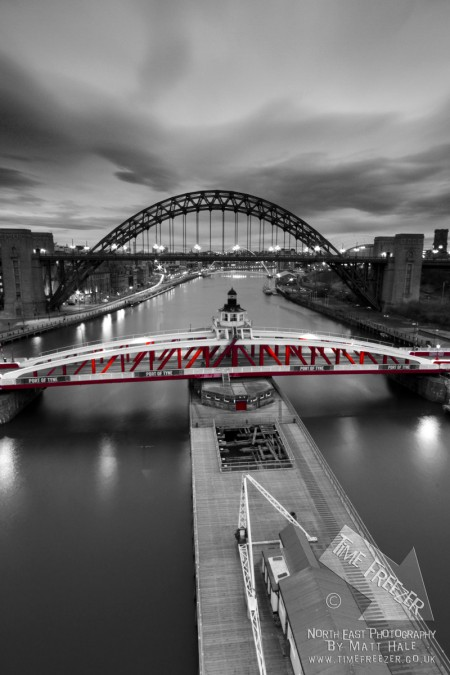 Swing Bridge Newcastle Black and white photo