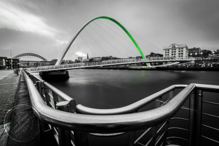 Newcastle Gateshead Millennium Bridge lit green