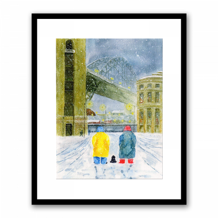 Old couple and a dog looking at the Tyne Bridge